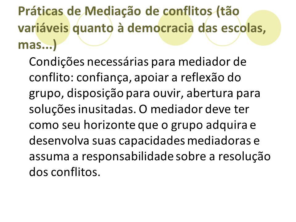 Práticas de Mediação de conflitos (tão variáveis quanto à democracia das escolas, mas...)