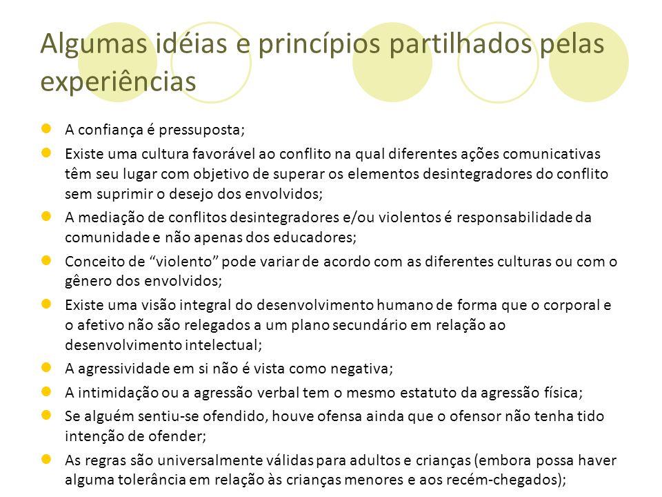 Algumas idéias e princípios partilhados pelas experiências