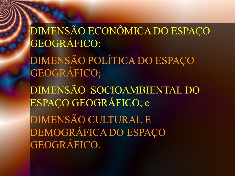DIMENSÃO ECONÔMICA DO ESPAÇO GEOGRÁFICO;
