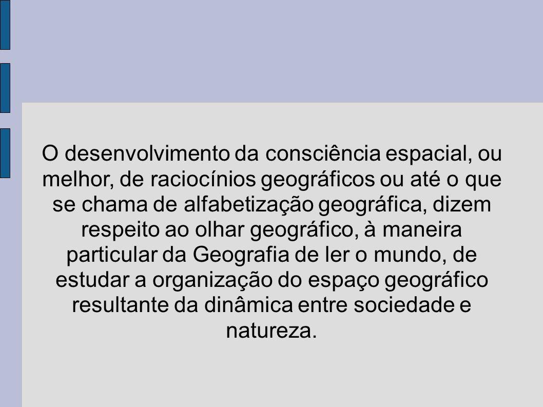 O desenvolvimento da consciência espacial, ou melhor, de raciocínios geográficos ou até o que se chama de alfabetização geográfica, dizem respeito ao olhar geográfico, à maneira particular da Geografia de ler o mundo, de estudar a organização do espaço geográfico resultante da dinâmica entre sociedade e natureza.