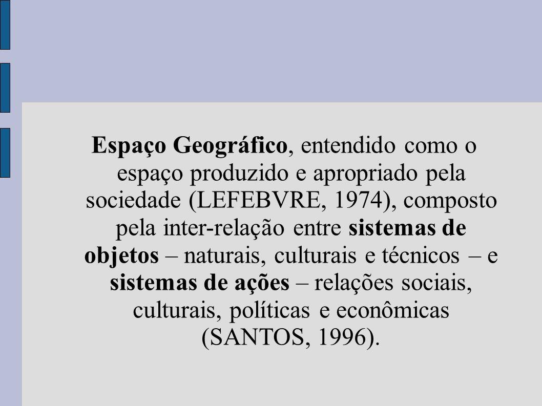 Espaço Geográfico, entendido como o espaço produzido e apropriado pela sociedade (LEFEBVRE, 1974), composto pela inter-relação entre sistemas de objetos – naturais, culturais e técnicos – e sistemas de ações – relações sociais, culturais, políticas e econômicas (SANTOS, 1996).