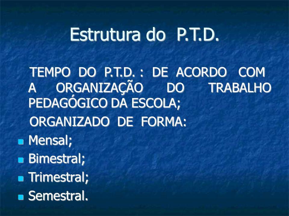 Estrutura do P.T.D.TEMPO DO P.T.D. : DE ACORDO COM A ORGANIZAÇÃO DO TRABALHO PEDAGÓGICO DA ESCOLA;