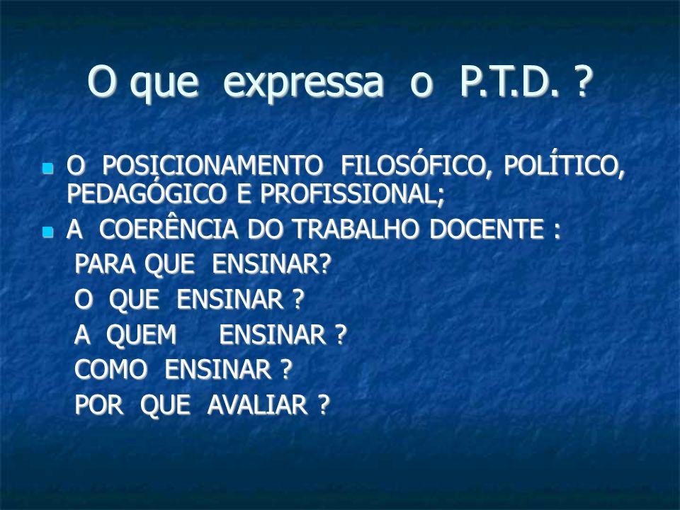 O que expressa o P.T.D. O POSICIONAMENTO FILOSÓFICO, POLÍTICO, PEDAGÓGICO E PROFISSIONAL; A COERÊNCIA DO TRABALHO DOCENTE :