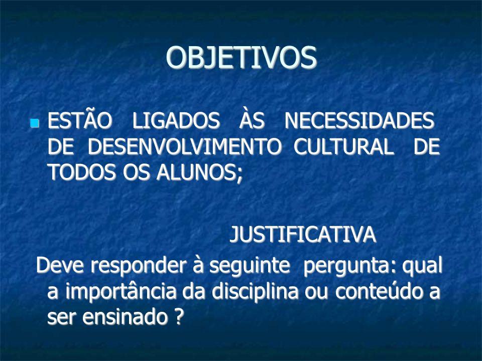 OBJETIVOS ESTÃO LIGADOS ÀS NECESSIDADES DE DESENVOLVIMENTO CULTURAL DE TODOS OS ALUNOS;