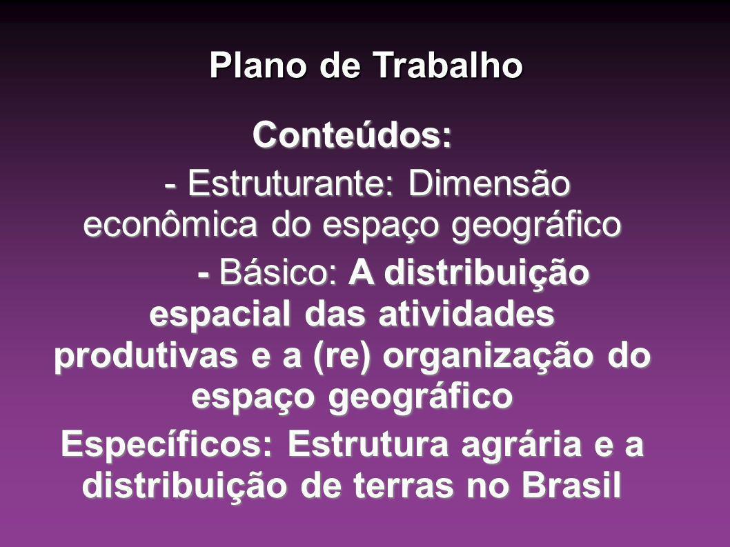 Específicos: Estrutura agrária e a distribuição de terras no Brasil