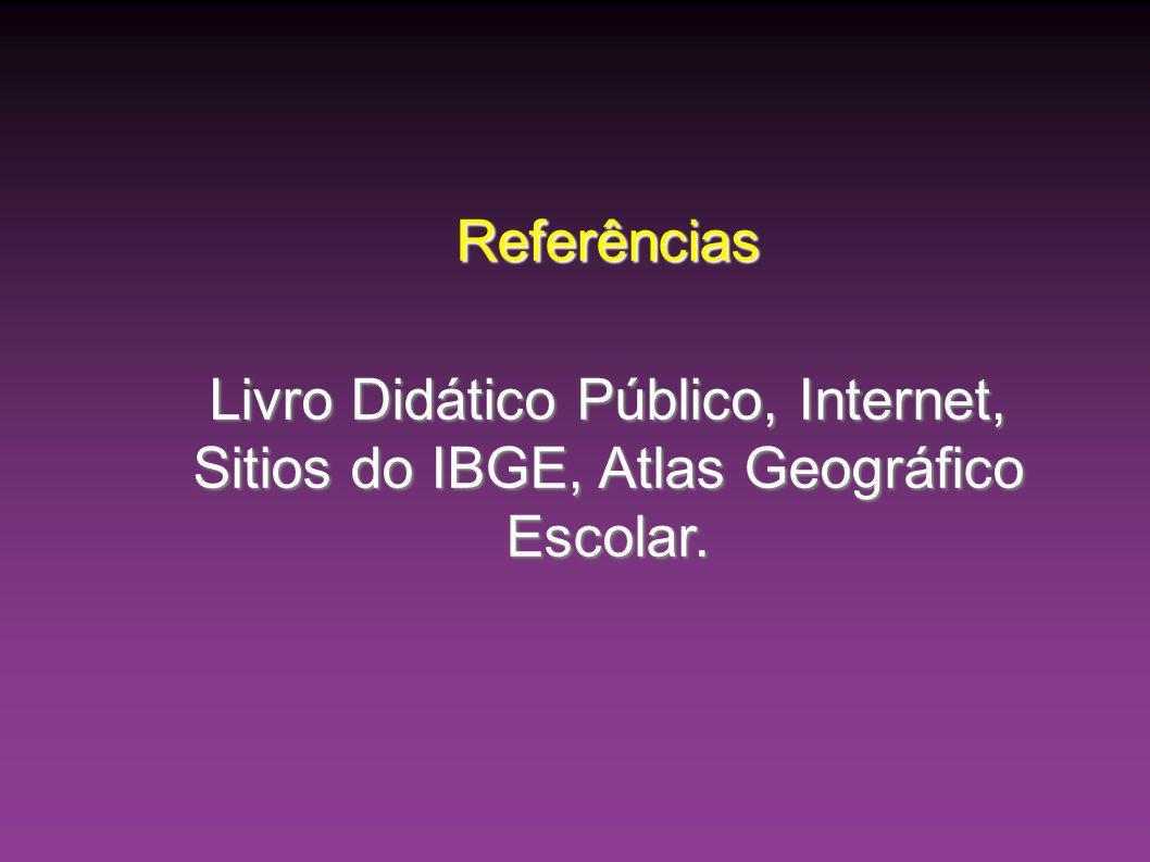 Referências Livro Didático Público, Internet, Sitios do IBGE, Atlas Geográfico Escolar.