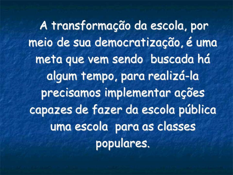A transformação da escola, por meio de sua democratização, é uma meta que vem sendo buscada há algum tempo, para realizá-la precisamos implementar ações capazes de fazer da escola pública uma escola para as classes populares.