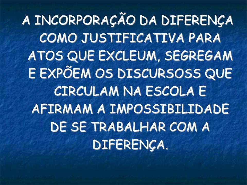 A INCORPORAÇÃO DA DIFERENÇA COMO JUSTIFICATIVA PARA ATOS QUE EXCLEUM, SEGREGAM E EXPÕEM OS DISCURSOSS QUE CIRCULAM NA ESCOLA E AFIRMAM A IMPOSSIBILIDADE DE SE TRABALHAR COM A DIFERENÇA.
