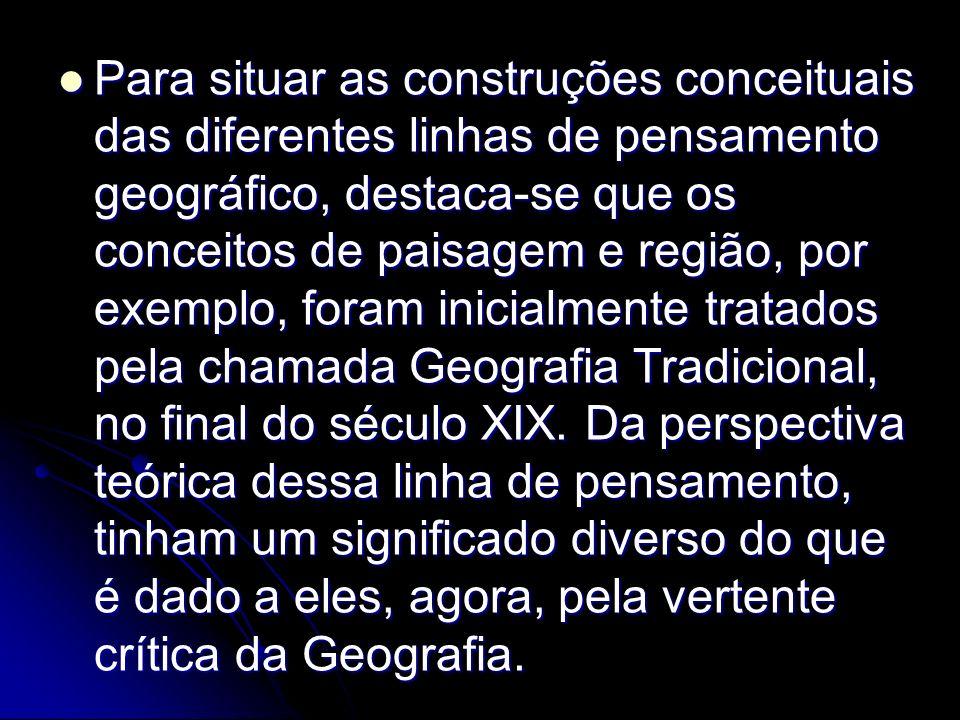 Para situar as construções conceituais das diferentes linhas de pensamento geográfico, destaca-se que os conceitos de paisagem e região, por exemplo, foram inicialmente tratados pela chamada Geografia Tradicional, no final do século XIX.