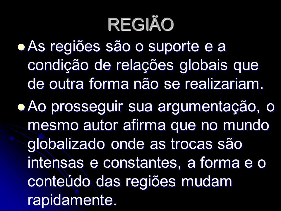 REGIÃOAs regiões são o suporte e a condição de relações globais que de outra forma não se realizariam.