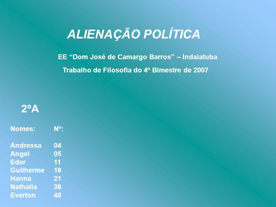 ALIENAÇÃO POLÍTICA 2ºA EE Dom José de Camargo Barros – Indaiatuba