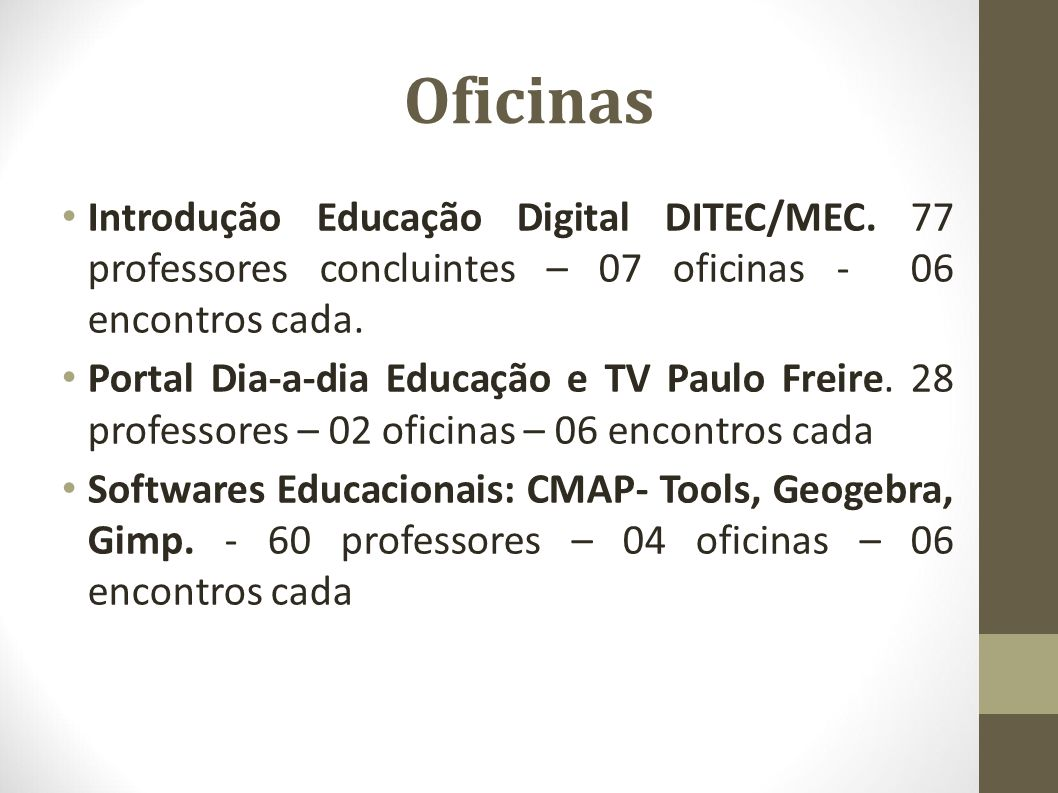 Oficinas Introdução Educação Digital DITEC/MEC. 77 professores concluintes – 07 oficinas - 06 encontros cada.
