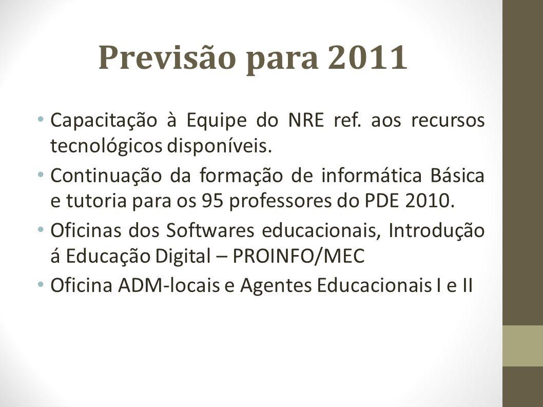 Previsão para 2011 Capacitação à Equipe do NRE ref. aos recursos tecnológicos disponíveis.