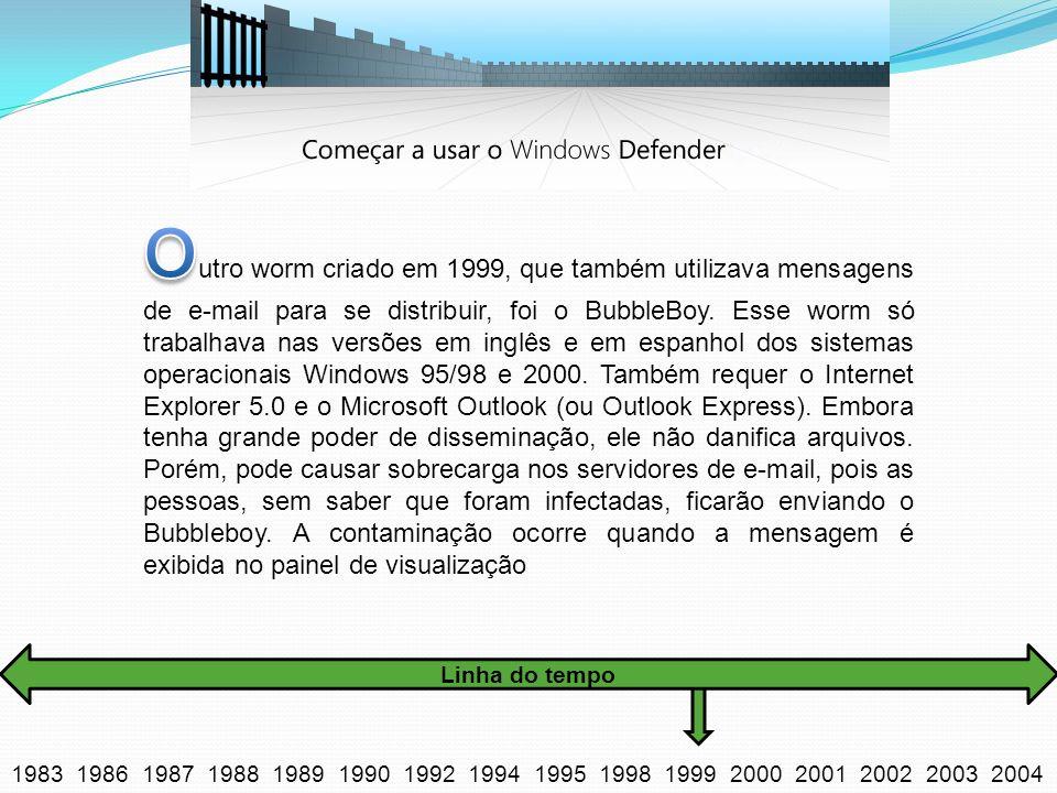 Outro worm criado em 1999, que também utilizava mensagens de e-mail para se distribuir, foi o BubbleBoy. Esse worm só trabalhava nas versões em inglês e em espanhol dos sistemas operacionais Windows 95/98 e 2000. Também requer o Internet Explorer 5.0 e o Microsoft Outlook (ou Outlook Express). Embora tenha grande poder de disseminação, ele não danifica arquivos. Porém, pode causar sobrecarga nos servidores de e-mail, pois as pessoas, sem saber que foram infectadas, ficarão enviando o Bubbleboy. A contaminação ocorre quando a mensagem é exibida no painel de visualização