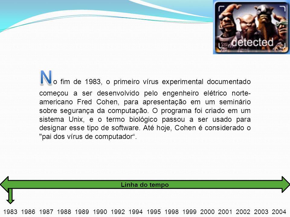 No fim de 1983, o primeiro vírus experimental documentado começou a ser desenvolvido pelo engenheiro elétrico norte-americano Fred Cohen, para apresentação em um seminário sobre segurança da computação. O programa foi criado em um sistema Unix, e o termo biológico passou a ser usado para designar esse tipo de software. Até hoje, Cohen é considerado o pai dos vírus de computador .