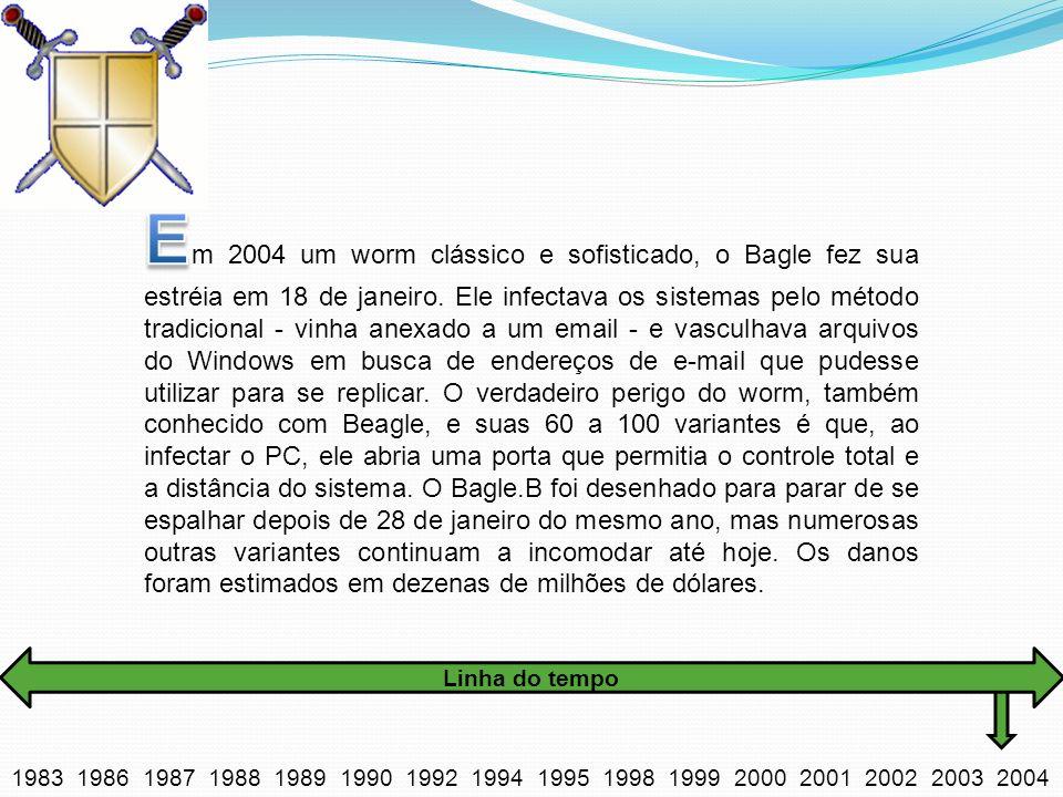 Em 2004 um worm clássico e sofisticado, o Bagle fez sua estréia em 18 de janeiro. Ele infectava os sistemas pelo método tradicional - vinha anexado a um email - e vasculhava arquivos do Windows em busca de endereços de e-mail que pudesse utilizar para se replicar. O verdadeiro perigo do worm, também conhecido com Beagle, e suas 60 a 100 variantes é que, ao infectar o PC, ele abria uma porta que permitia o controle total e a distância do sistema. O Bagle.B foi desenhado para parar de se espalhar depois de 28 de janeiro do mesmo ano, mas numerosas outras variantes continuam a incomodar até hoje. Os danos foram estimados em dezenas de milhões de dólares.