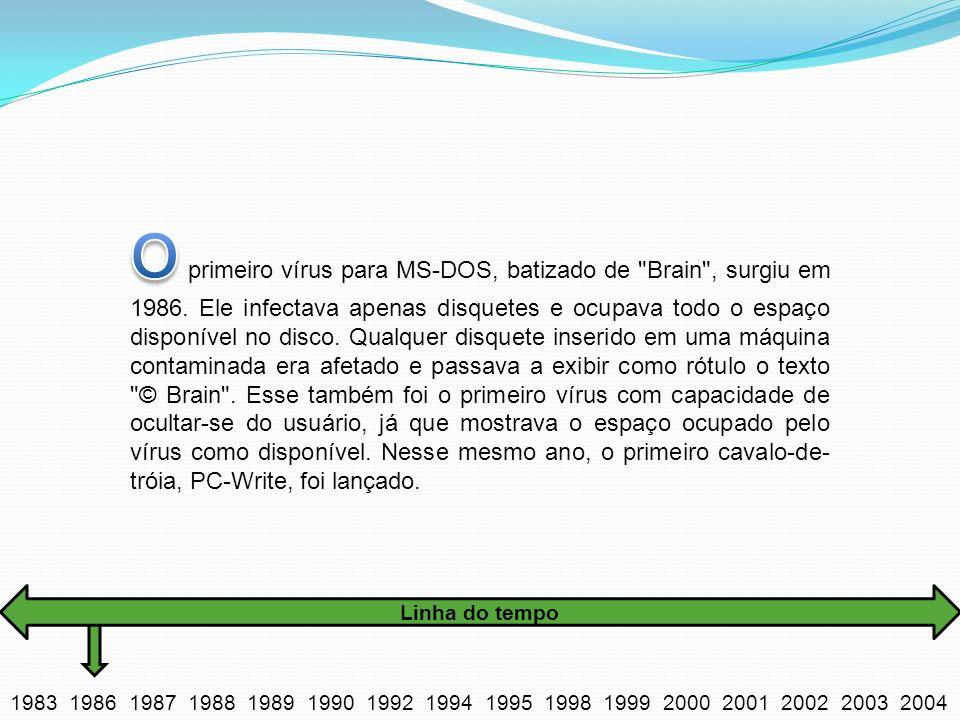 O primeiro vírus para MS-DOS, batizado de Brain , surgiu em 1986