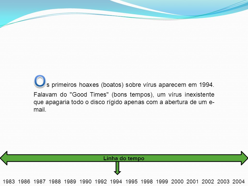 Os primeiros hoaxes (boatos) sobre vírus aparecem em 1994