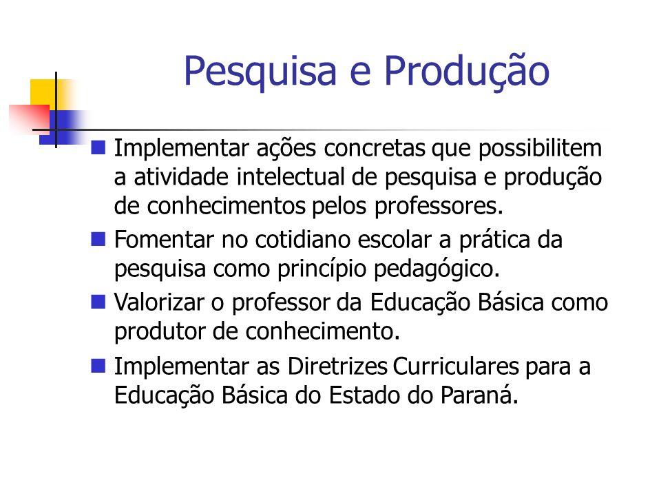 Pesquisa e ProduçãoImplementar ações concretas que possibilitem a atividade intelectual de pesquisa e produção de conhecimentos pelos professores.