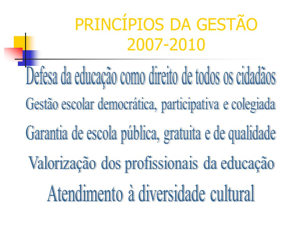 PRINCÍPIOS DA GESTÃO 2007-2010Defesa da educação como direito de todos os cidadãos. Gestão escolar democrática, participativa e colegiada.