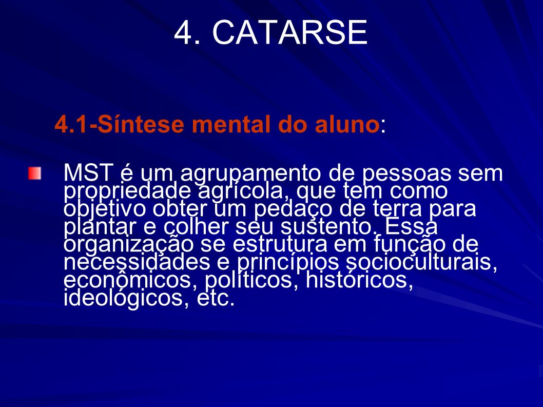 4. CATARSE 4.1-Síntese mental do aluno:
