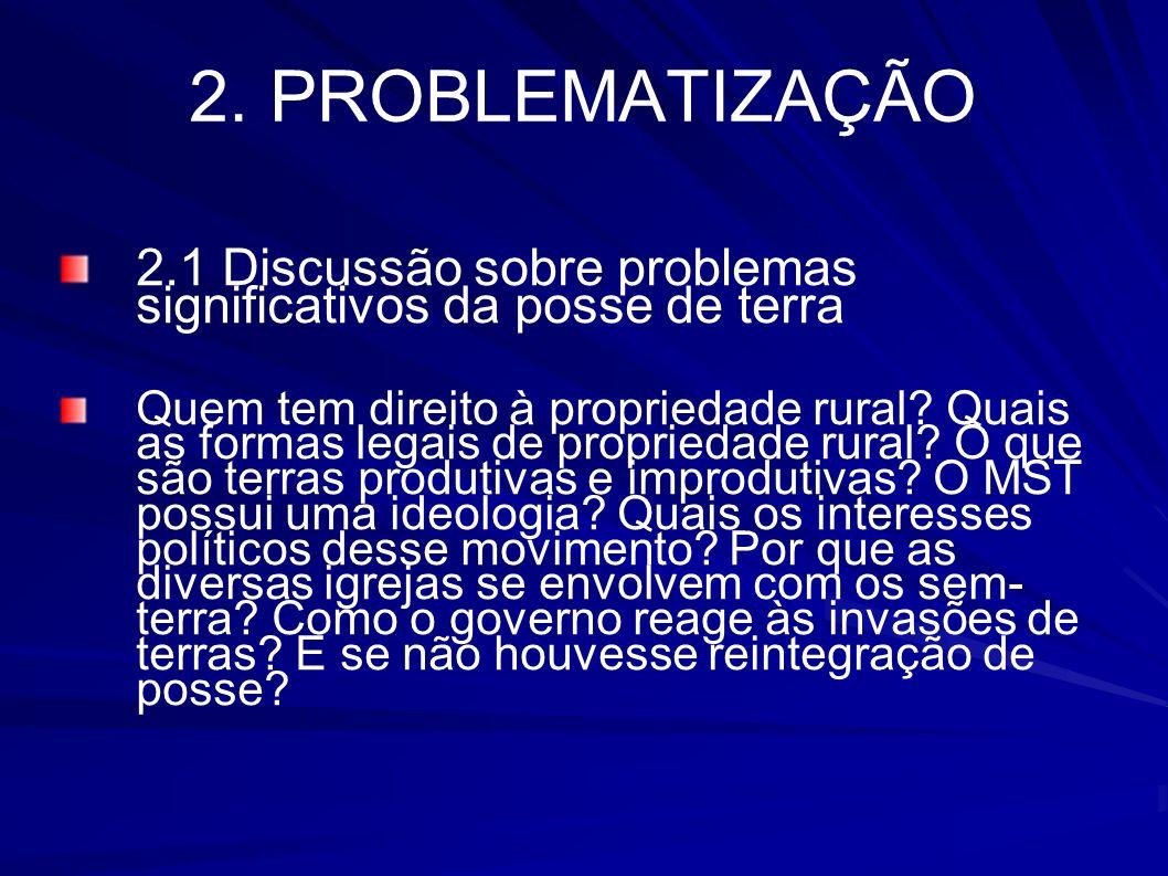 2. PROBLEMATIZAÇÃO 2.1 Discussão sobre problemas significativos da posse de terra.
