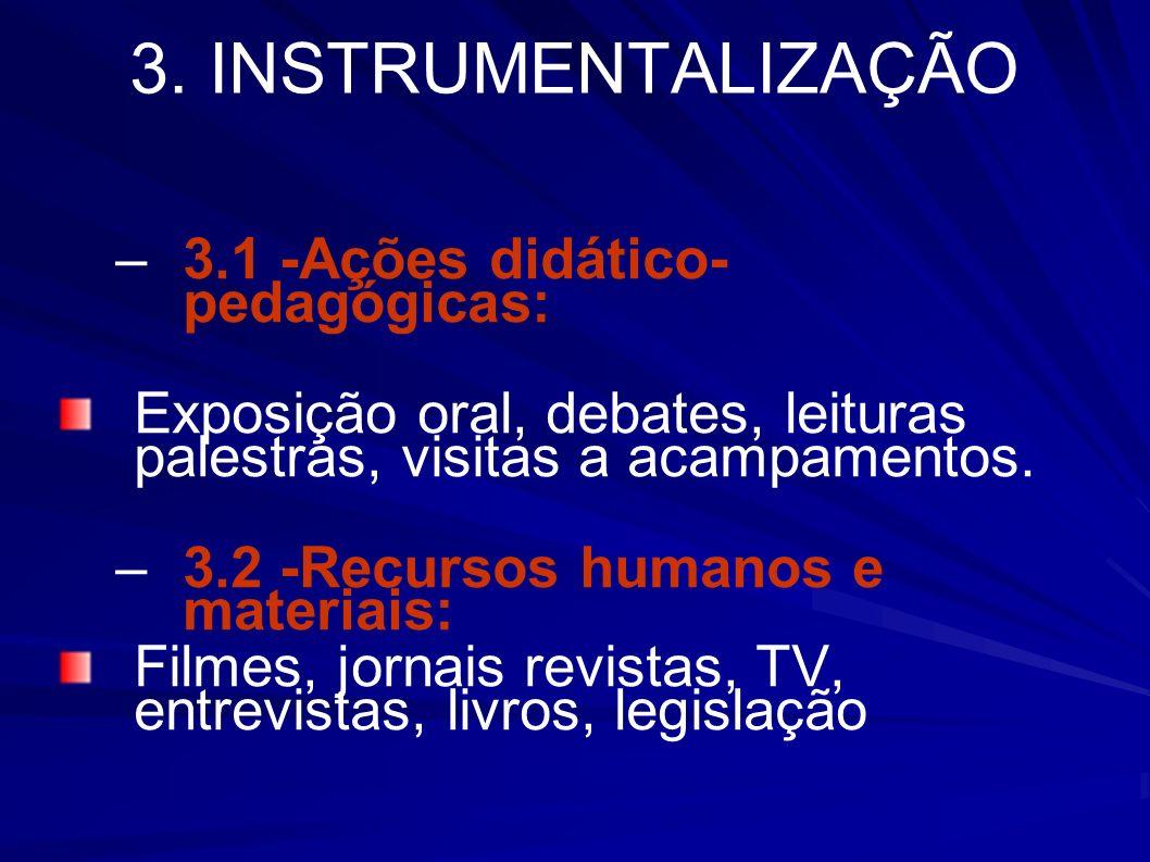 3. INSTRUMENTALIZAÇÃO 3.1 -Ações didático- pedagógicas: