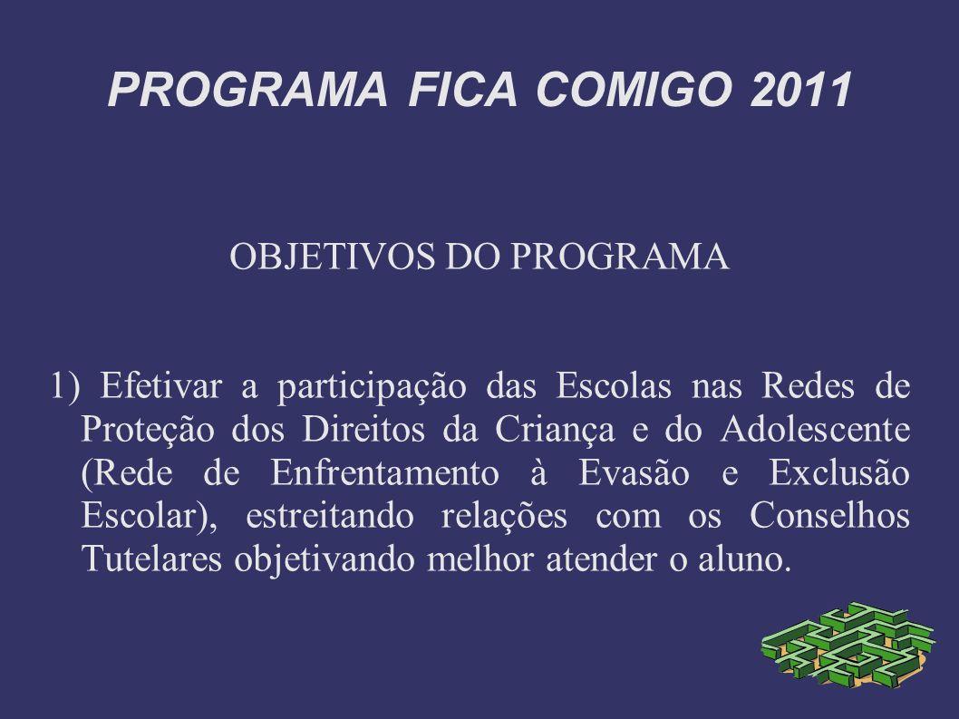 PROGRAMA FICA COMIGO 2011 OBJETIVOS DO PROGRAMA