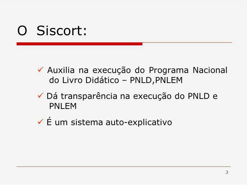 O Siscort: Auxilia na execução do Programa Nacional do Livro Didático – PNLD,PNLEM.  Dá transparência na execução do PNLD e PNLEM.