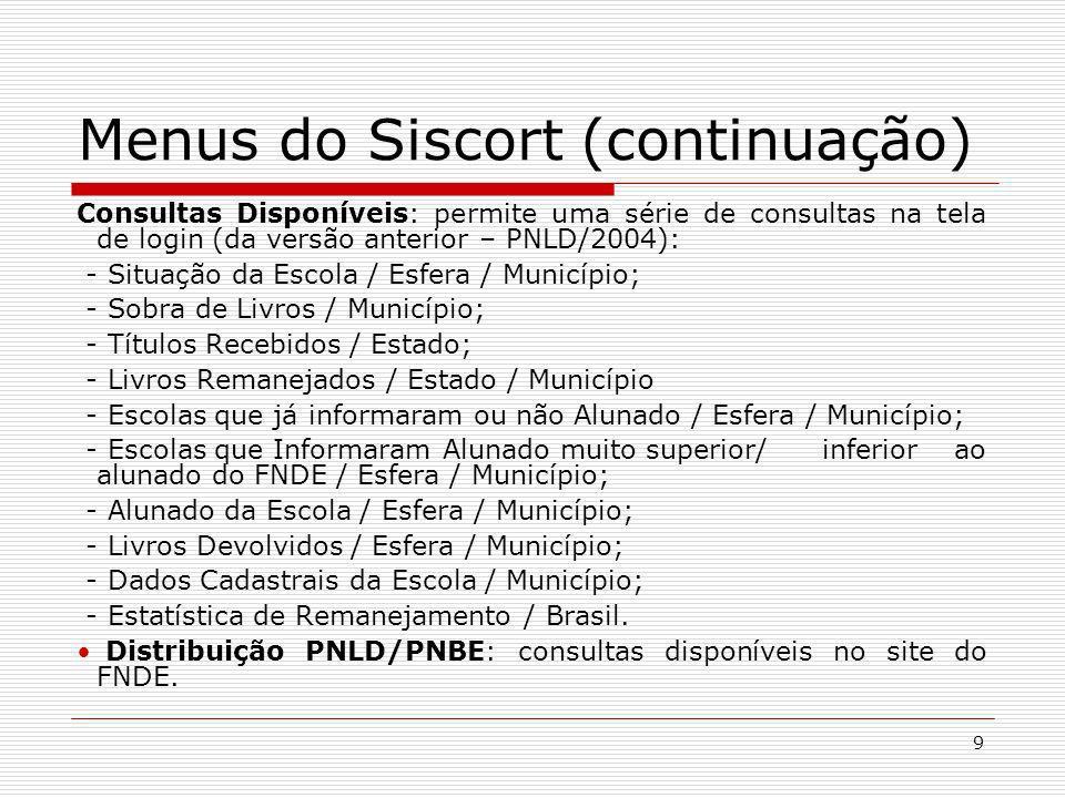 Menus do Siscort (continuação)