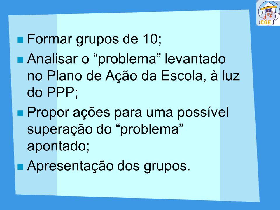 Formar grupos de 10; Analisar o problema levantado no Plano de Ação da Escola, à luz do PPP;