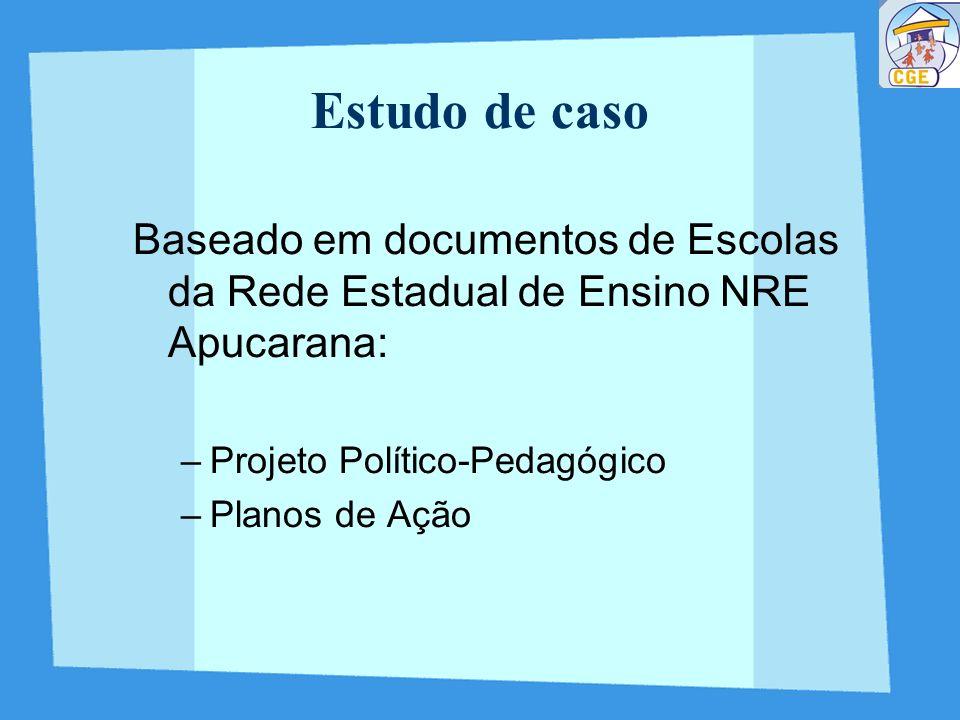 Estudo de casoBaseado em documentos de Escolas da Rede Estadual de Ensino NRE Apucarana: Projeto Político-Pedagógico.