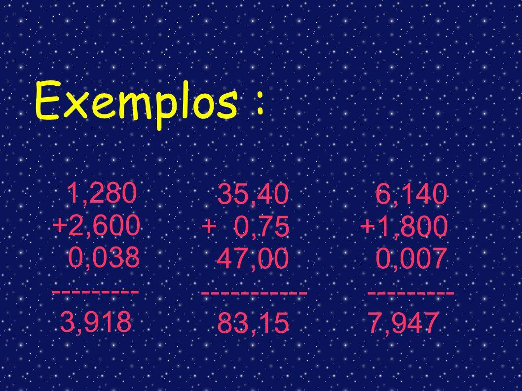 Exemplos : +2,600 0,038 --------- 3,918 35,40 + 0,75 47,00 -----------