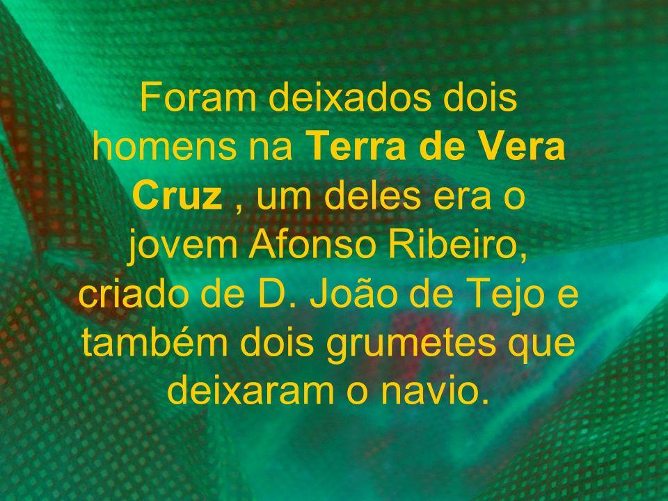 Foram deixados dois homens na Terra de Vera Cruz , um deles era o jovem Afonso Ribeiro, criado de D.