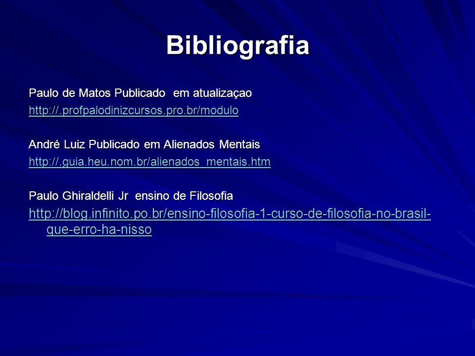 Bibliografia Paulo de Matos Publicado em atualizaçao. http://.profpalodinizcursos.pro.br/modulo. André Luiz Publicado em Alienados Mentais.