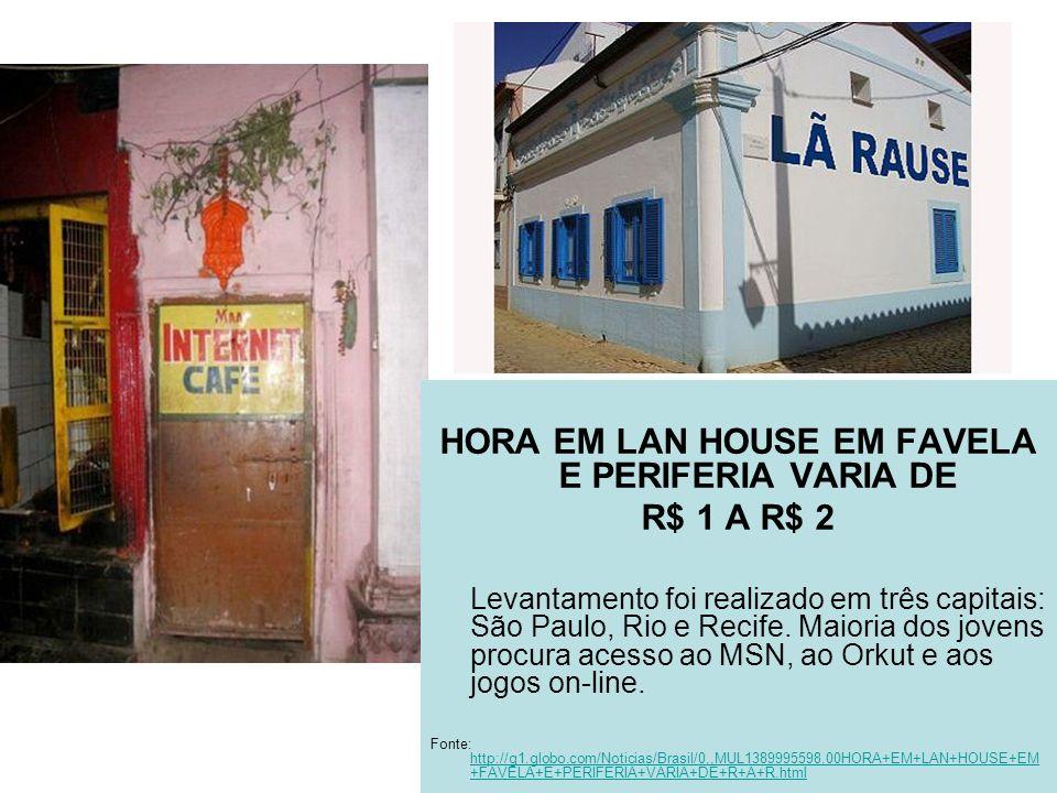 HORA EM LAN HOUSE EM FAVELA E PERIFERIA VARIA DE