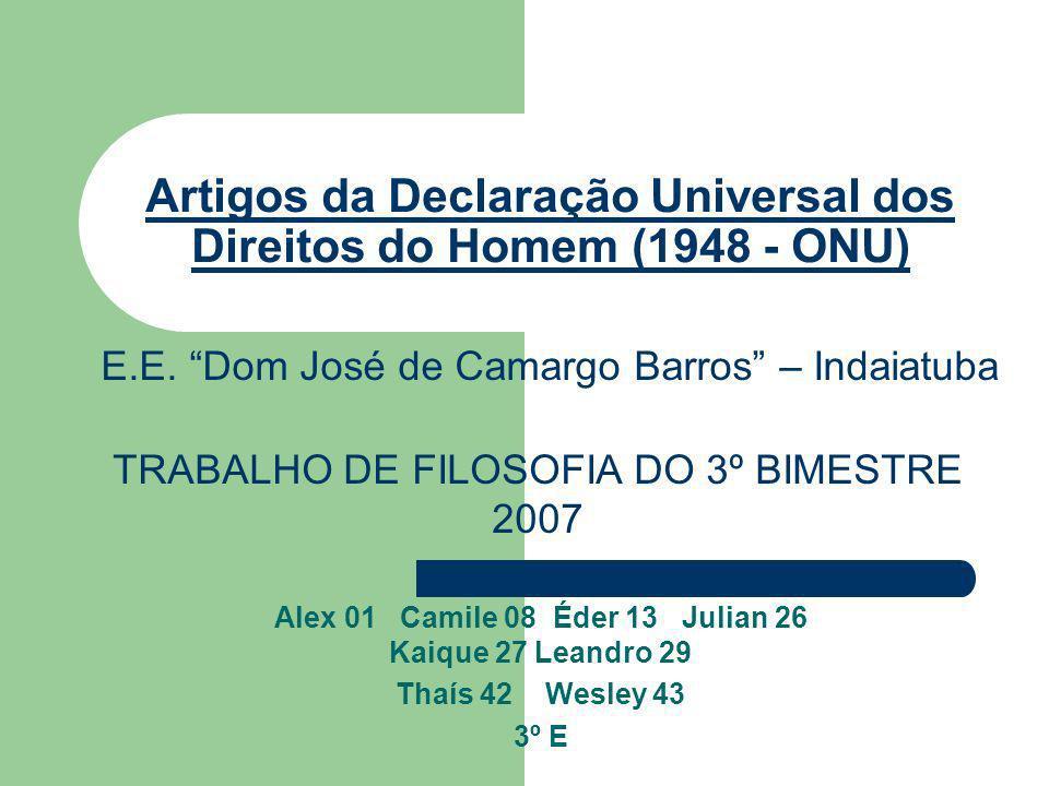 Artigos da Declaração Universal dos Direitos do Homem (1948 - ONU)