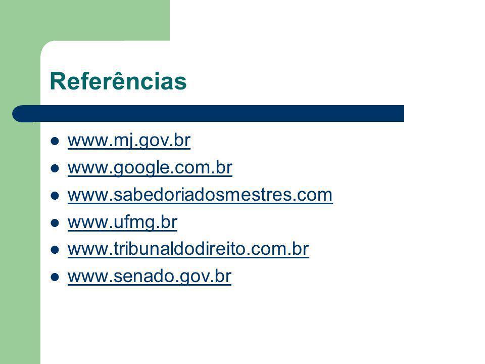 Referências www.mj.gov.br www.google.com.br