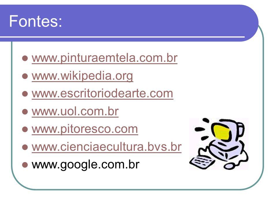 Fontes: www.pinturaemtela.com.br www.wikipedia.org