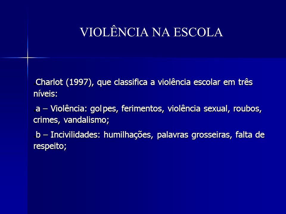 VIOLÊNCIA NA ESCOLA Charlot (1997), que classifica a violência escolar em três níveis: