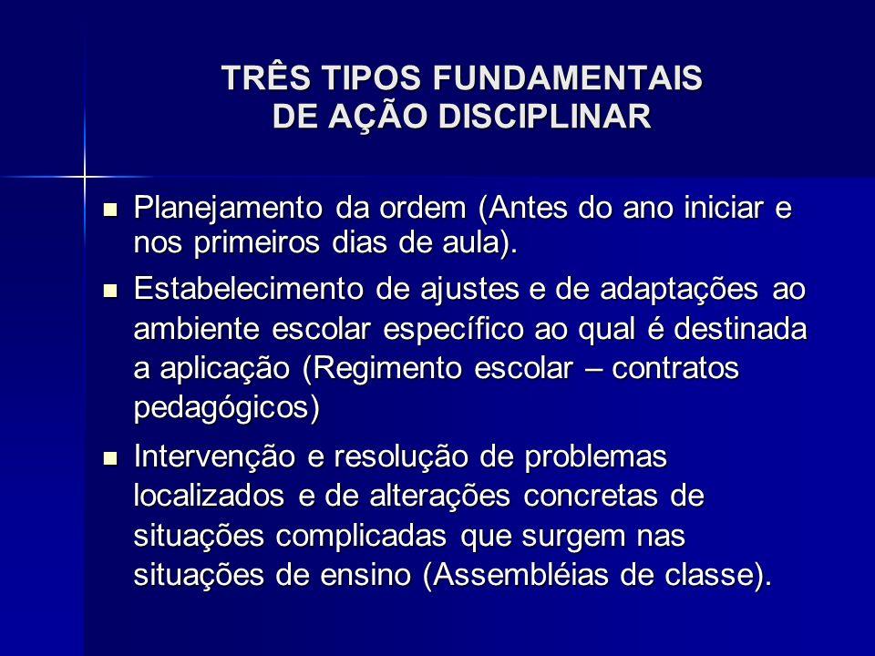 TRÊS TIPOS FUNDAMENTAIS DE AÇÃO DISCIPLINAR