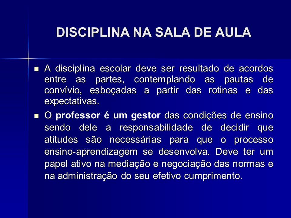 DISCIPLINA NA SALA DE AULA