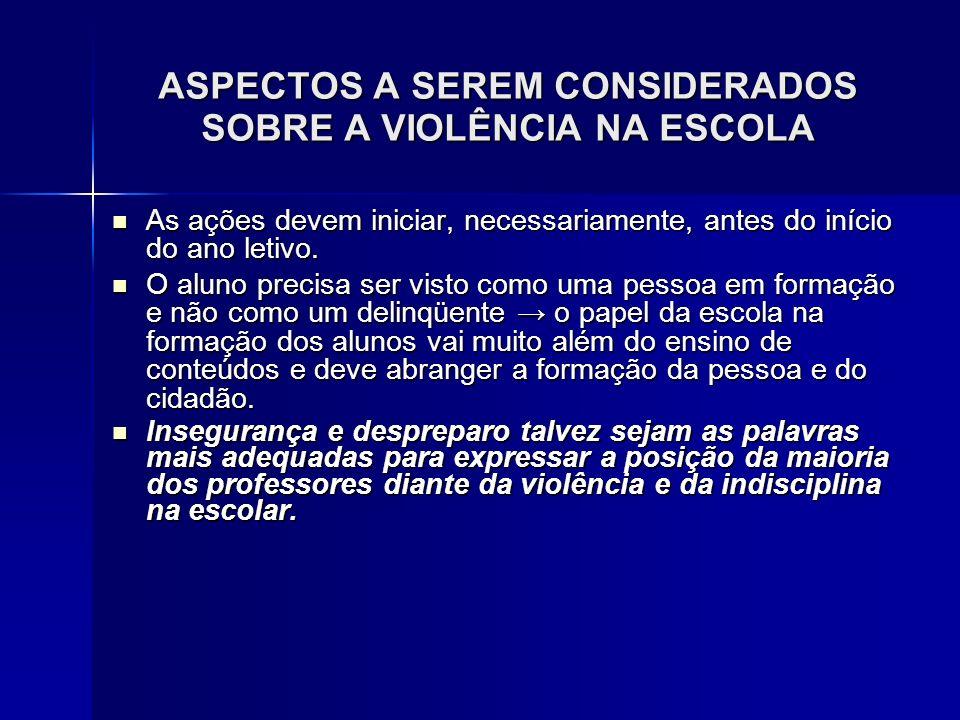 ASPECTOS A SEREM CONSIDERADOS SOBRE A VIOLÊNCIA NA ESCOLA