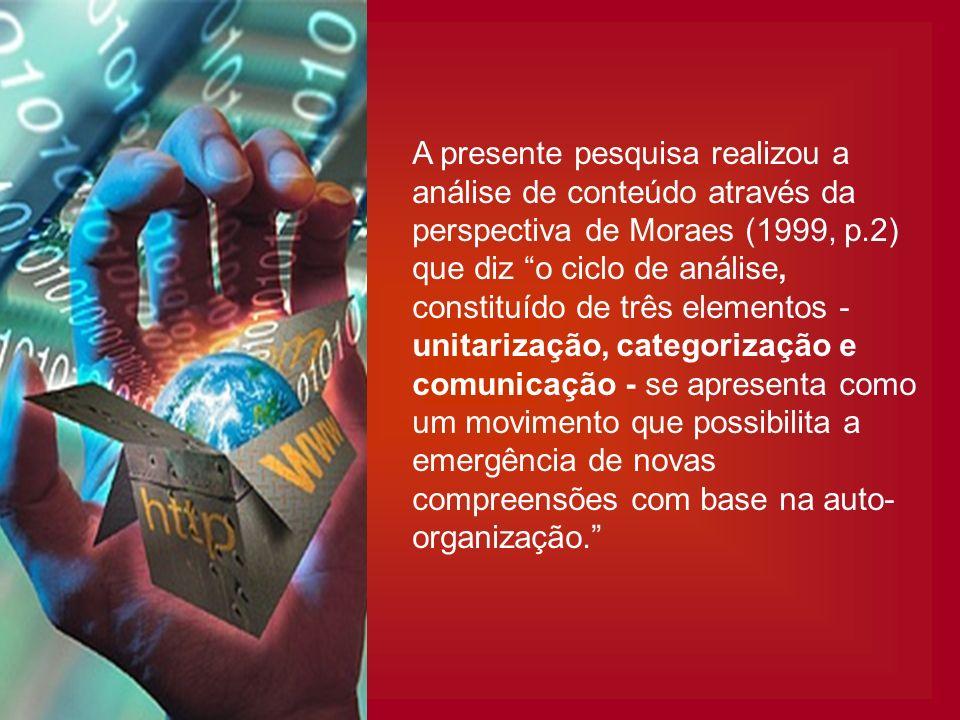 A presente pesquisa realizou a análise de conteúdo através da perspectiva de Moraes (1999, p.2) que diz o ciclo de análise, constituído de três elementos - unitarização, categorização e comunicação - se apresenta como um movimento que possibilita a emergência de novas compreensões com base na auto-organização.