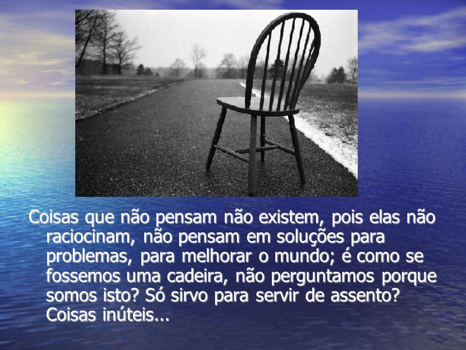 Coisas que não pensam não existem, pois elas não raciocinam, não pensam em soluções para problemas, para melhorar o mundo; é como se fossemos uma cadeira, não perguntamos porque somos isto.
