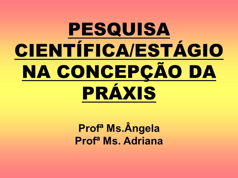 PESQUISA CIENTÍFICA/ESTÁGIO NA CONCEPÇÃO DA PRÁXIS Profª Ms