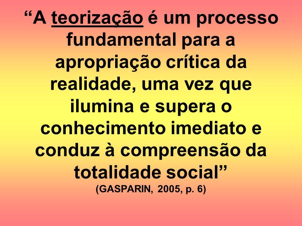 A teorização é um processo fundamental para a apropriação crítica da realidade, uma vez que ilumina e supera o conhecimento imediato e conduz à compreensão da totalidade social (GASPARIN, 2005, p.