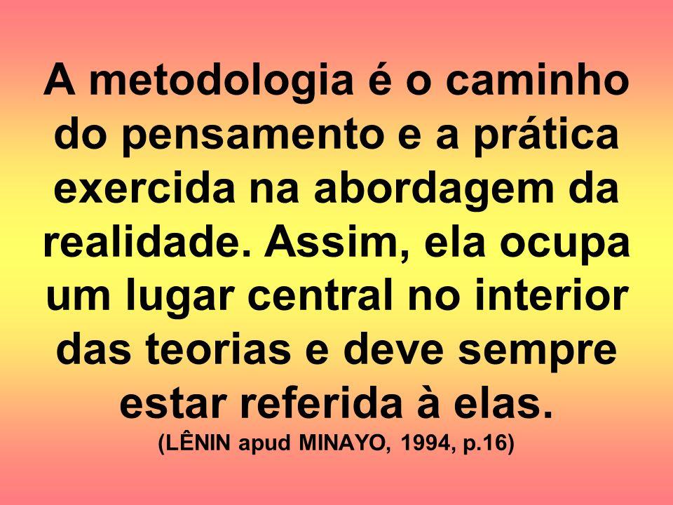 A metodologia é o caminho do pensamento e a prática exercida na abordagem da realidade.