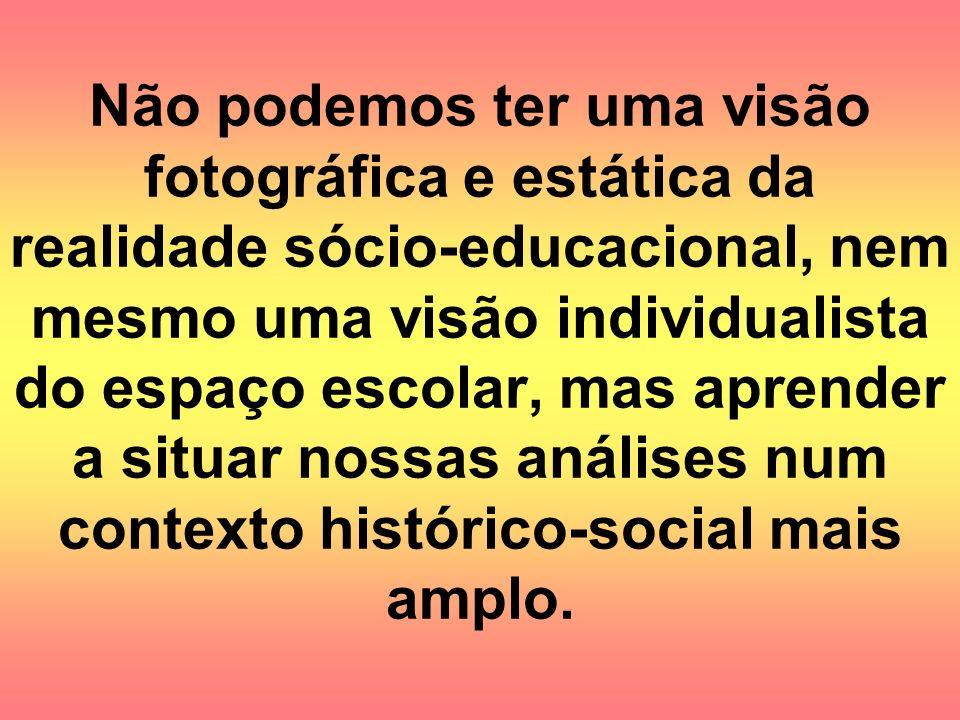 Não podemos ter uma visão fotográfica e estática da realidade sócio-educacional, nem mesmo uma visão individualista do espaço escolar, mas aprender a situar nossas análises num contexto histórico-social mais amplo.