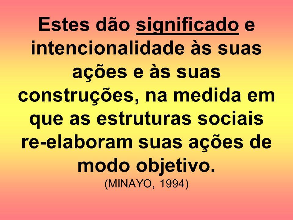 Estes dão significado e intencionalidade às suas ações e às suas construções, na medida em que as estruturas sociais re-elaboram suas ações de modo objetivo.
